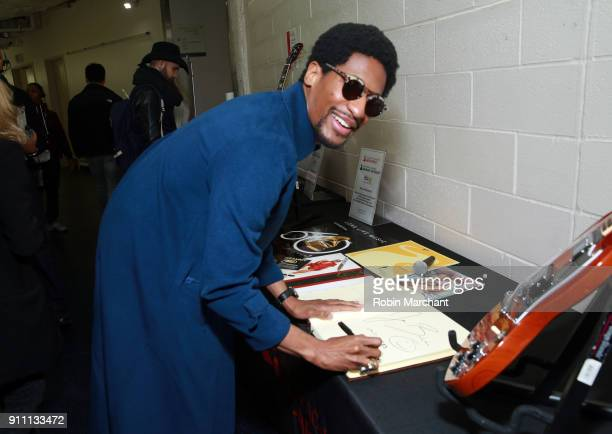 Musician Jon Batiste at the GRAMMY Charities Signings during the 60th Annual GRAMMY Awards at Madison Square Garden on January 27 2018 in New York...