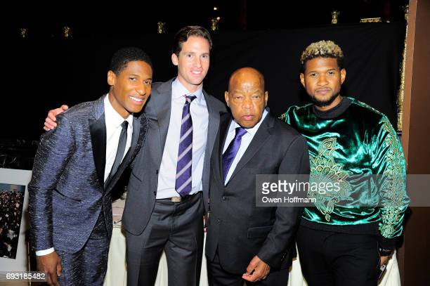 Musician Jon Batiste Executive Director of the Gordon Parks Foundation Peter Kunhardt Jr Congressman John Lewis and singersongwriter Usher pose...