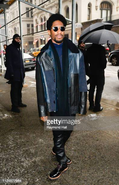 Musician Jon Batiste is seen arriving to Coach 1941 fashion show at the NYSE during New York Fashion Week on February 12 2019 in New York City