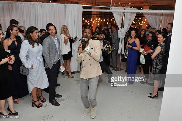 Musician Jon Batiste performs during The Supper hosted by Mario Batali with Anthony Bourdain on June 2 2016 in New York City