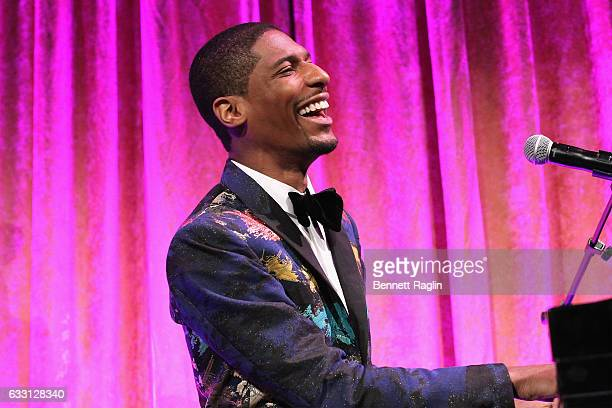 Musician Jon Batiste performs onstage during the National CARES Mentoring Movement's 2nd Annual 'For the Love of Our Children' Gala at Cipriani 42nd...