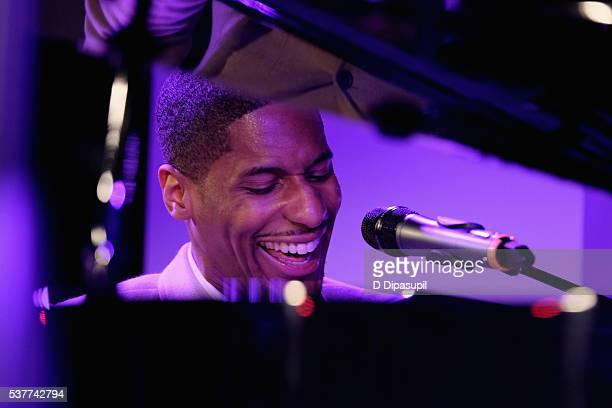 Musician Jon Batiste performs onstage during The Supper hosted by Mario Batali with Anthony Bourdain on June 2 2016 in New York City