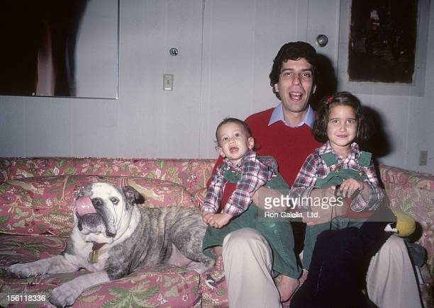 Musician Jon Bauman of Sha Na Na daughter Nora Bauman and son Eli Bauman being photographed for exclusive photo session on December 20 1983 at Jon...