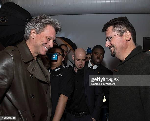 Musician Jon Bon Jovi and Author/Photographer David Bergman at Altman Building on November 12, 2014 in New York City.
