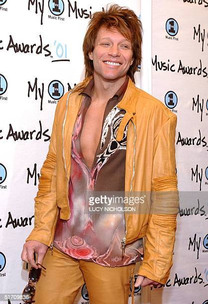 US musician Jon Bon Jovi arrives at My VH1 Awards '01 at the Shrine Auditorium in Los Angeles 02 December 2001 The Awards are hosted by MTV and the...