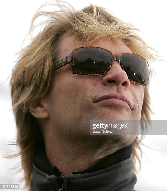Musician Jon Bon Jovi attends a rally for Democratic presidential candidate US Senator John Kerry at the Iowa State House October 30 2004 in Des...