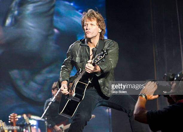 Musician Jon Bon Jovi of Bon Jovi performs on the beach during a benefit concert on October 15 2010 in Gulf Shores Alabama