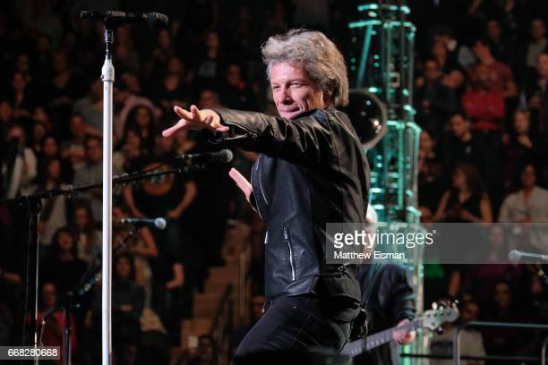 Musician Jon Bon Jovi of the band Bon Jovi performs live on stage for the 'This House Is Not For Sale' Tour 2017 at Madison Square Garden on April 13...
