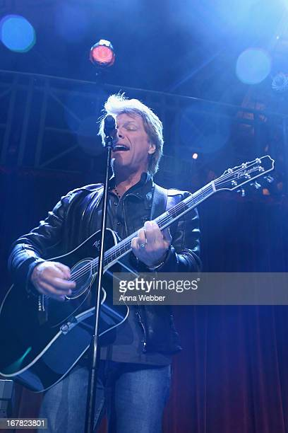 Musician Jon Bon Jovi performs onstage at the Food Bank For New York City's CanDo Awards celebrating 30 years of service to NYC on April 30 2013 in...
