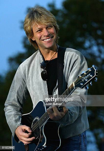 Musician Jon Bon Jovi plays during a rally for democratic presidential candidate US Senator John Kerry at CarnegieMellon University October 20 2004...