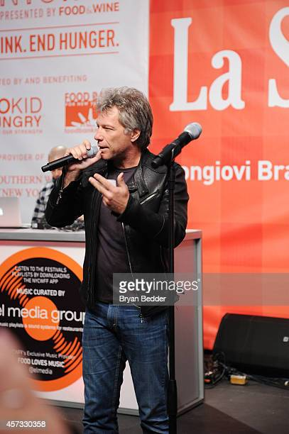 Musician Jon Bon Jovi speaks at Ronzoni's La Sagra Slices hosted by Bongiovi Brand pasta sauces Adam Richman presented by Time Out New York during...
