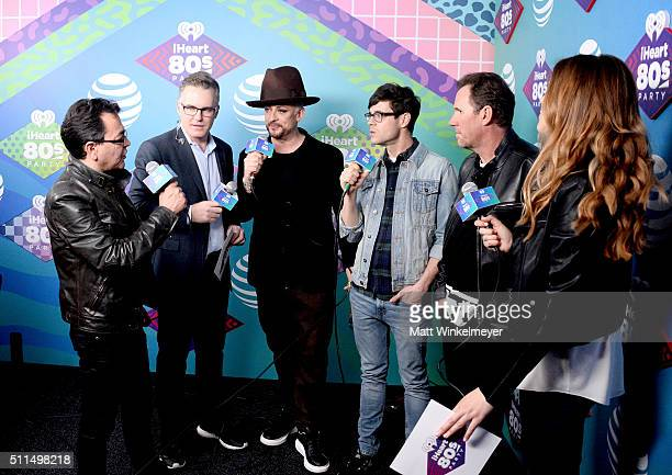 Musician Jon Moss of Culture Club iHeartRadio personality Sean Valentine singer Boy George of Culture Club iHeartRadio personality Kevin Manno...