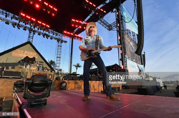 Musician Jon Pardi performs on the Toyota Mane Stage stage during day 1 of 2017 Stagecoach California's Country Music Festival at the Empire Polo...