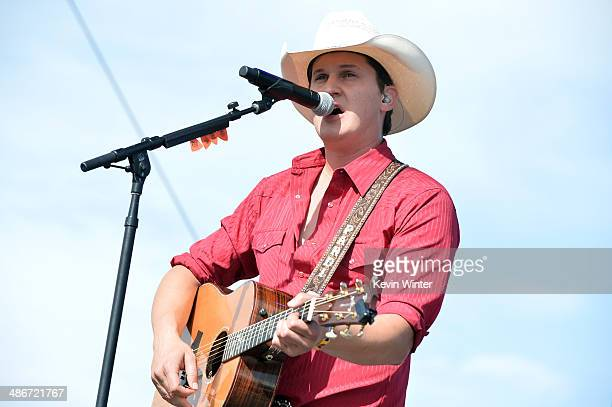 Musician Jon Pardi performs onstage during day 1 of 2014 Stagecoach California's Country Music Festival at the Empire Polo Club on April 25 2014 in...