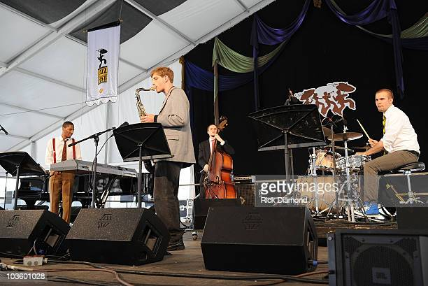 Musician Jonathan Batiste performs at The 39th Annual New Orleans Jazz Heritage Festival Presented by Shell Day 7 at The New Orleans Fair Grounds on...