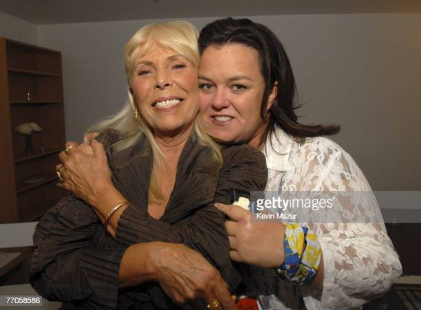 Musician Joni Mitchell and Comedian Rosie O'Donnell at the Violet Ray Gallery to celebrate Joni Mitchell's new album 'Shine' on September 25 2007 in...