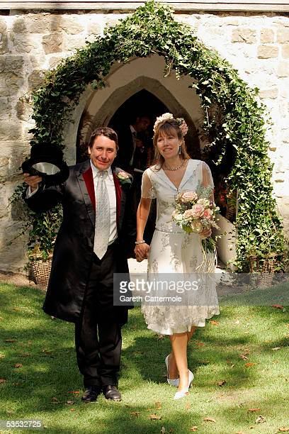 Musician Jools Holland and Christabel McEwen are seen at St James's Church Cooling on August 30 2005 in Cooling England The Archbishop Of Canterbury...