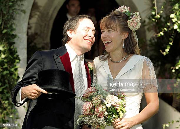 Musician Jools Holland and Christabel McEwen pose at their wedding at St James's Church on August 30 2005 in Cooling England The Archbishop Of...