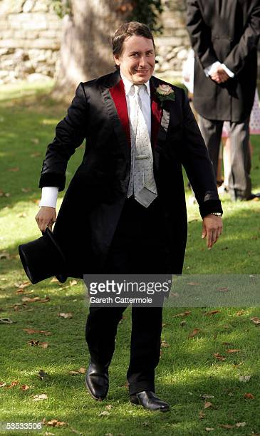 Musician Jools Holland arrives for his wedding to Christabel McEwen at St James's Church Cooling on August 30 2005 in Cooling England The Archbishop...