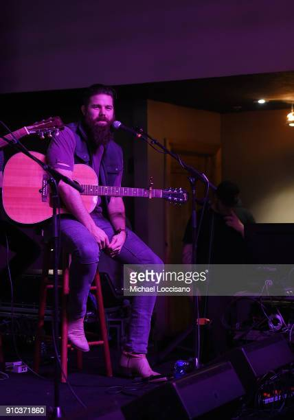 Musician Jordan Davis performs for the CMA Songwriters Series during the 2018 Sundance Film Festival at the Sundance ASCAP Music Cafe on January 25...