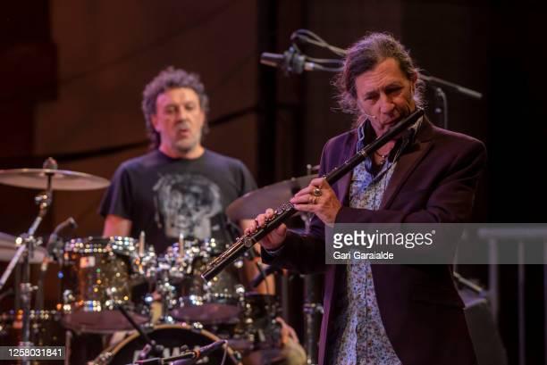 Musician Jorge Pardo and Tino di Geraldo perform during 55th edition of the Heineken Jazzaldia Festival on July 24 2020 in San Sebastian Spain This...