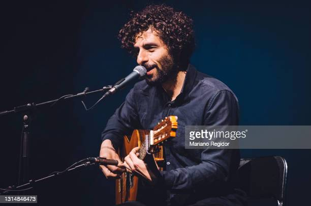 Musician Jose Gonzalez performs on stage at Teatro EDP Gran Vía on April 27, 2021 in Madrid, Spain.
