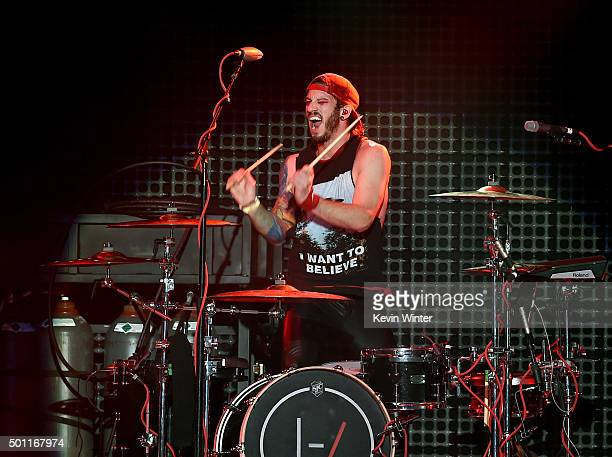 Musician Josh Dun of Twenty One Pilots performs onstage during 1067 KROQ Almost Acoustic Christmas 2015 at The Forum on December 12 2015 in Los...