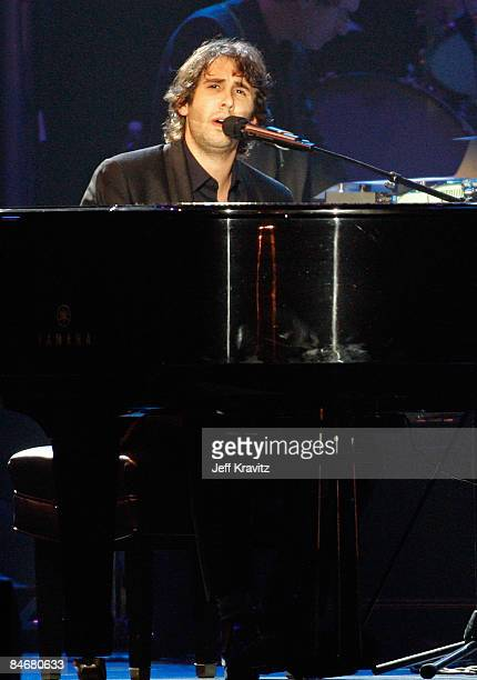 Musician Josh Groban performs at the 2009 MusiCares Person of the Year Tribute to Neil Diamond at the Los Angeles Convention Center on February 6,...