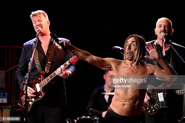 Musician Josh Homme and singer Iggy Pop perform at the Teragram Ballroom for The Post Pop Depression Tour on March 9 2016 in Los Angeles California