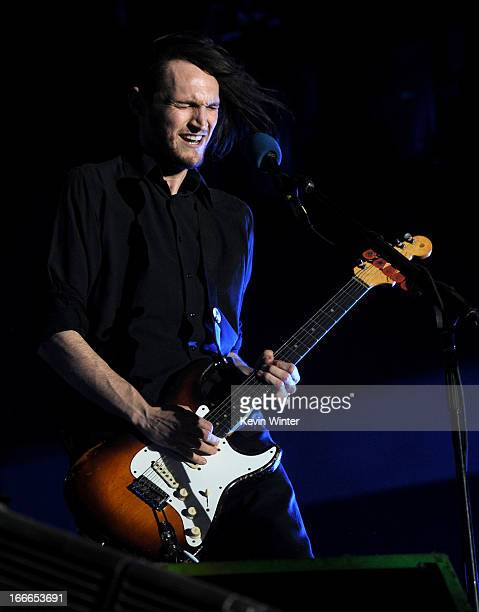 Musician Josh Klinghoffer of the band Red Hot Chili Peppers performs onstage during day 3 of the 2013 Coachella Valley Music Arts Festival at the...