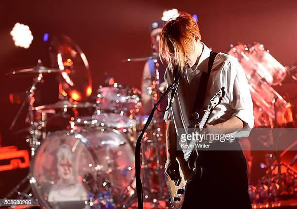 Musician Josh Klinghoffer of the Red Hot Chili Peppers performs onstage during the 'Feel The Bern' fundraiser concert to benefit presidential...