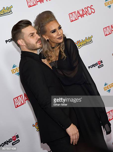 Musician Josh Peltier and adult film actress Janice Griffith attend the 2016 Adult Video News Awards at the Hard Rock Hotel Casino on January 23 2016...