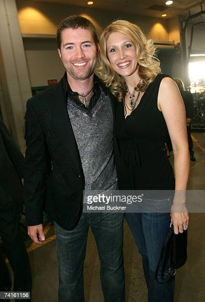 Musician Josh Turner and guest pose backstage at the 42nd Annual Academy Of Country Music Awards held at the MGM Grand Garden Arena on May 15 2007 in...
