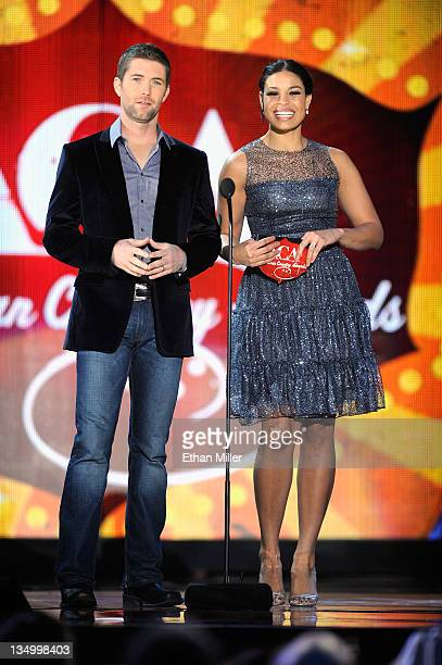 Musician Josh Turner and singer Jordin Sparks speak onstage at the American Country Awards 2011 at the MGM Grand Garden Arena on December 5 2011 in...