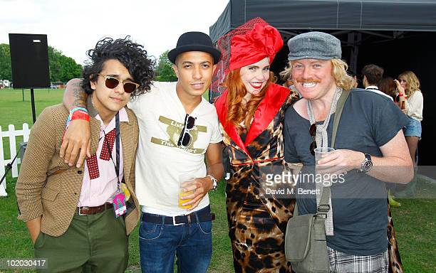 Musician Josh Weller singer Jade Jones singer Paloma Faith and comedian Leigh Francis are seen in the Ray Ban area during day two of the Isle of...