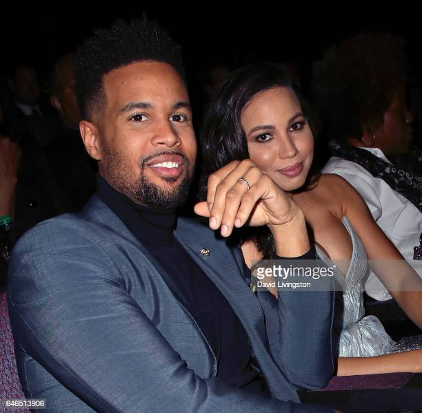 Musician Josiah Bell and wife/actress Jurnee SmollettBell attend the premiere of WGN America's 'Underground' Season 2 at Westwood Village on February...