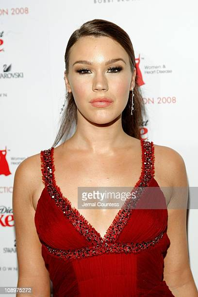 Musician Joss Stone backstage at the Red Dress Fashion Show sponsored by Diet Coke at Bryant Park on February 1 2008 in New York City