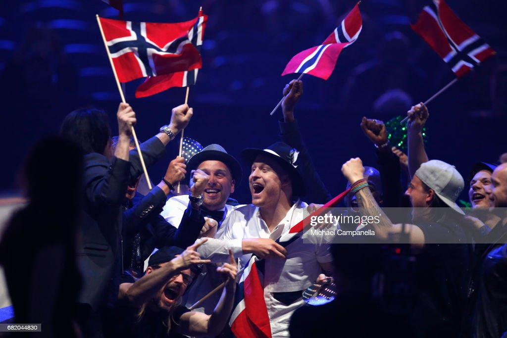 Musician JOWST and singer Aleksander Walmann, representing Norway, react to making it to the Grand Final during the second semi final of the 62nd Eurovision Song Contest at International Exhibition Centre (IEC) on May 11, 2017 in Kiev, Ukraine. The final of this years Eurovision Song Contest will be aired on May 13, 2017.
