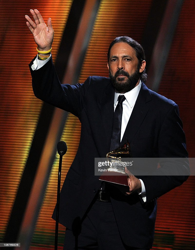 Musician Juan Luis Guerra accepts the Best Contemporary Tropical Album award onstage during the 11th annual Latin GRAMMY Awards at the Mandalay Bay Events Center on November 11, 2010 in Las Vegas, Nevada.