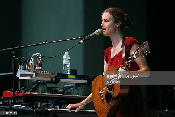 Musician Juana Molina opens for Feist during a concert to benefit Celebrate Brooklyn at the Prospect Park Bandshell on July 9 2008 in the Brooklyn...