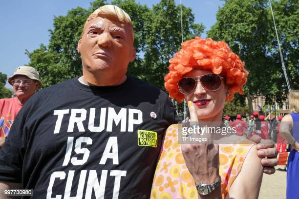 Musician Juju of Germany shows her middle finger during a demonstration against the visit to the UK by US President Donald Trump on July 13 2018 in...
