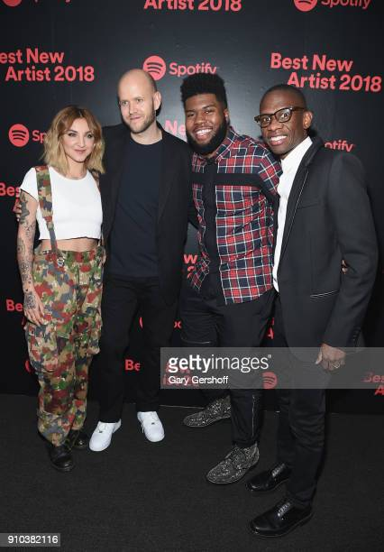 Musician Julia Michaels Spotify CEO and Founder Daniel Ek Khalid and Spotify Global Head of Creative Services Troy Carter attend 'Spotify's Best New...