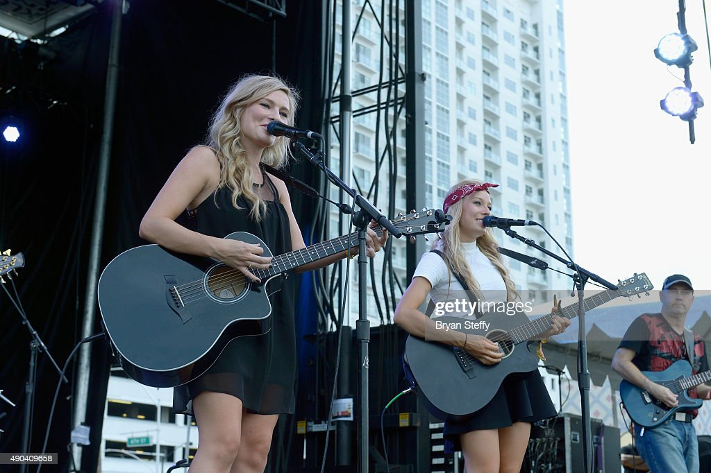 Musician Julia Tirinnanzi (L) and Jill Christine of Jill & Julia perform during the 2015 Life is Beautiful festival on September 27, 2015 in Las Vegas, Nevada.