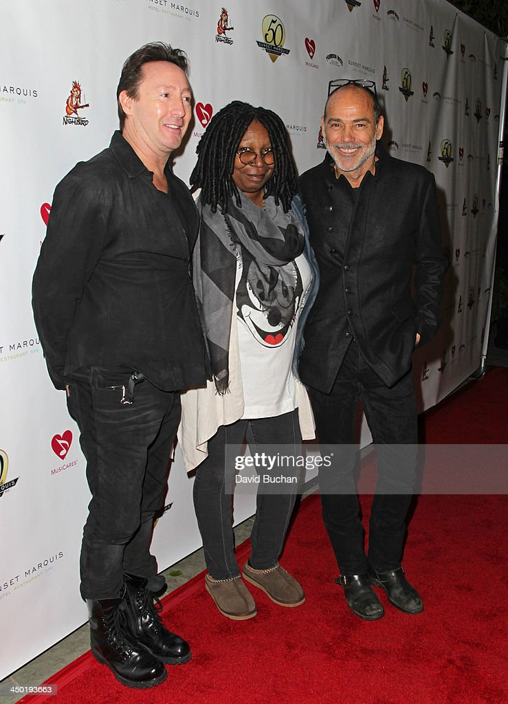 Musician Julian Lennon, Actress Whoopi Goldberg and Photographer Timothy White attend the Sunset Marquis Hotel 50th Anniversary Birthday Bash at Sunset Marquis Hotel & Villas on November 16, 2013 in West Hollywood, California.