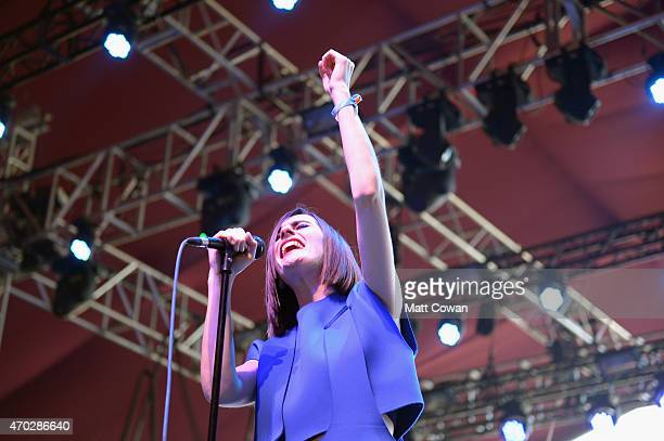 Musician Julie Budet of Yelle performs onstage during day 2 of the 2015 Coachella Valley Music And Arts Festival at The Empire Polo Club on April 18...