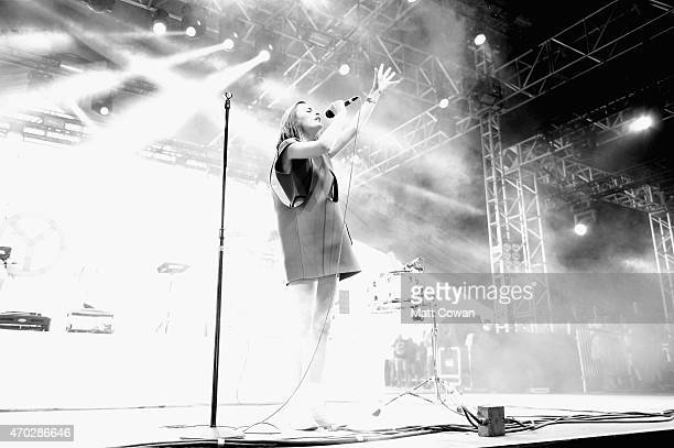 Musician Julie Budet of Yelle performs onstage during day 2 of the 2015 Coachella Valley Music And Arts Festival at The Empire Polo Club on April 18,...