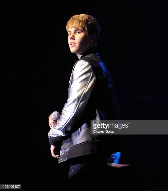 Musician Justin Bieber performs at Scott 'Scooter' Braun's 30th Birthday Party at the Music Box Theater on June 18 2011 in Hollywood California