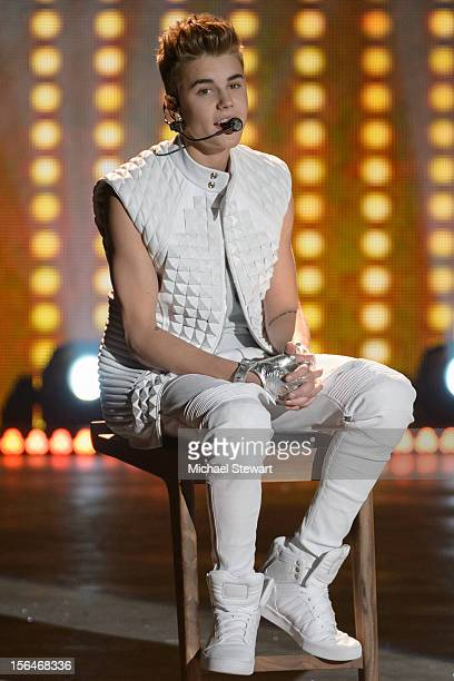 Musician Justin Bieber performs during the 2012 Victoria's Secret Fashion Show at the Lexington Avenue Armory on November 7 2012 in New York City