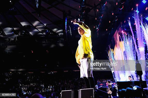 Musician Justin Bieber performs onstage during Z100's Jingle Ball 2016 at Madison Square Garden on December 9 2016 in New York New York