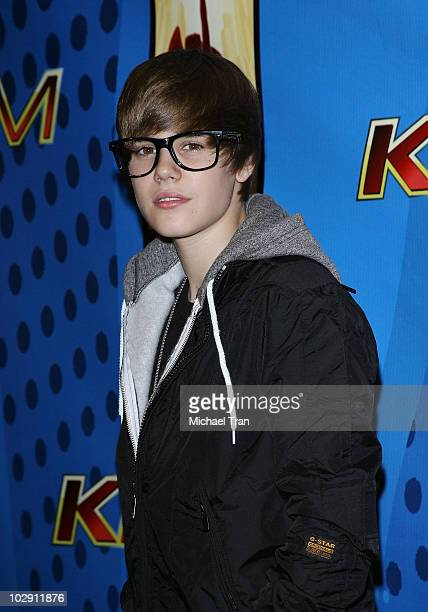 Musician Justin Bieber poses backstage at Nokia Plaza LA LIVE on February 13 2010 in Los Angeles California